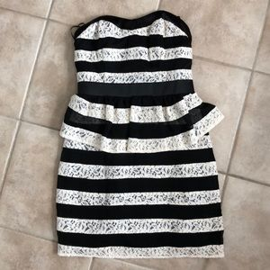 Guess Cream Lace Striped Peplum Dress